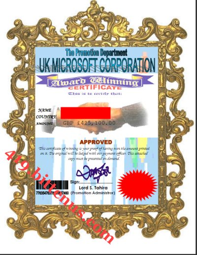 UK MICROSOFT AWARD CERTIFICATE